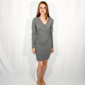 ROBERT RODRIGUEZ Grey Crossover Mini Dress V-Neck